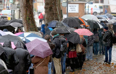 Queues of eager would-be stormtroopers brave the weather at the recent open auditions