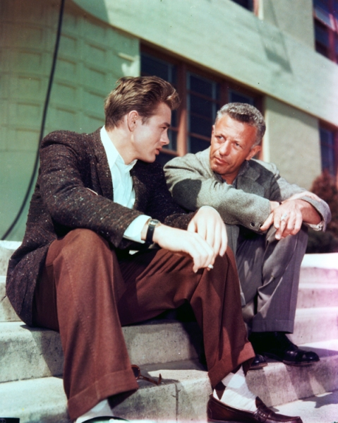 James Dean and Nick Ray on the set of REBEL WITHOUT A CAUSE. Cou